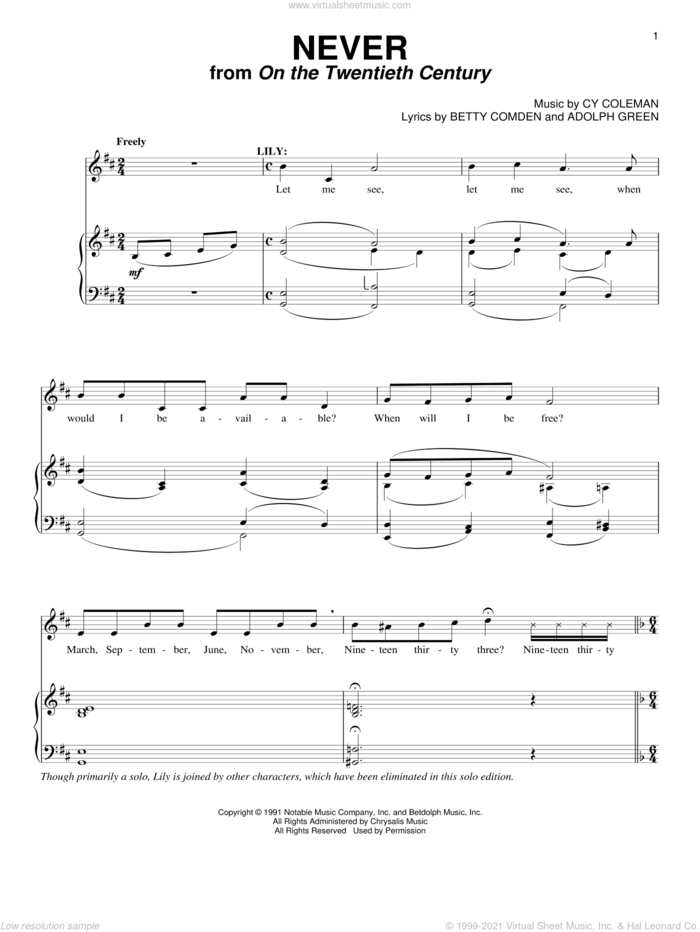 Never (from On The Twentieth Century) sheet music for voice and piano by Cy Coleman, Adolph Green and Betty Comden, intermediate skill level