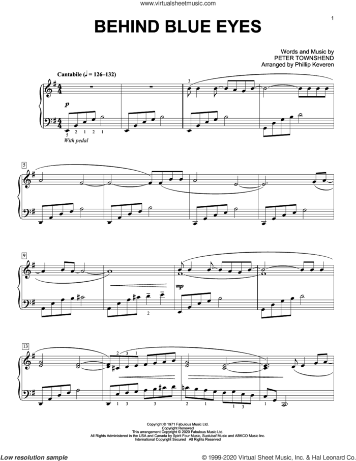 Behind Blue Eyes [Classical version] (arr. Phillip Keveren) sheet music for piano solo by The Who, Phillip Keveren and Pete Townshend, intermediate skill level
