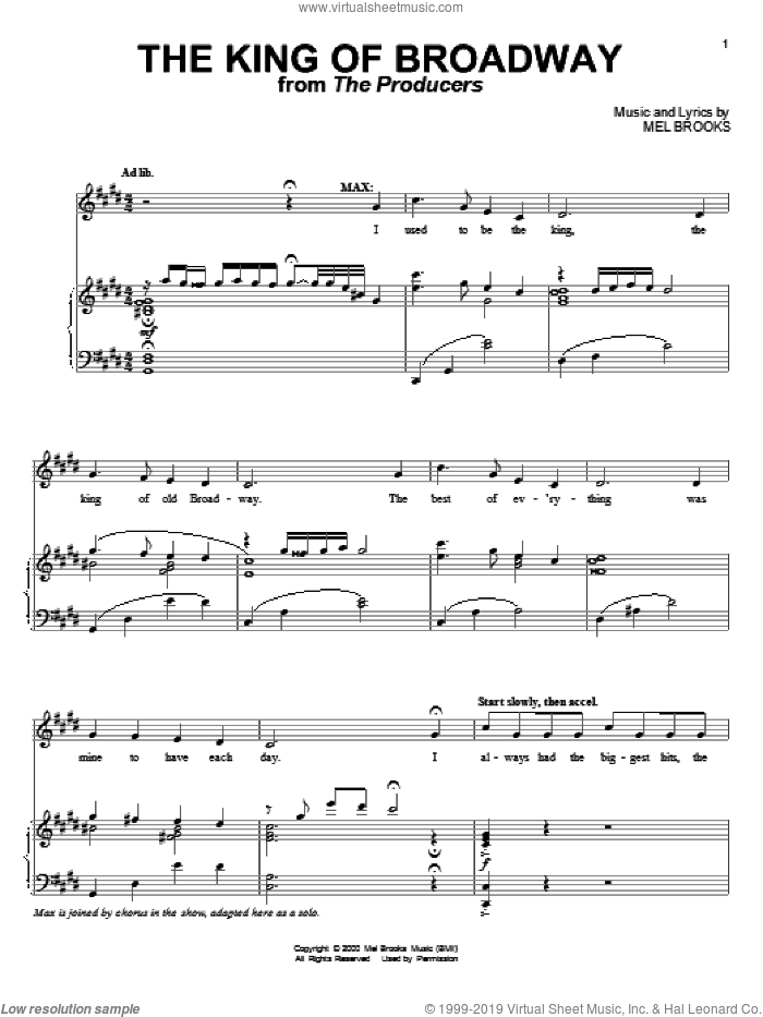 The King Of Broadway sheet music for voice and piano by Mel Brooks, intermediate skill level