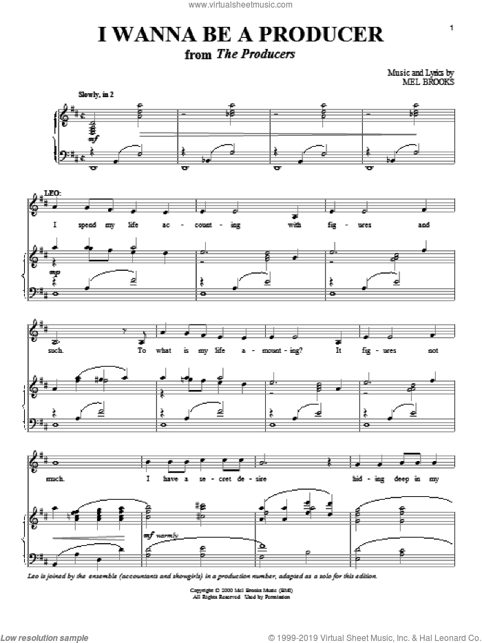 I Wanna Be A Producer sheet music for voice and piano by Mel Brooks, intermediate skill level