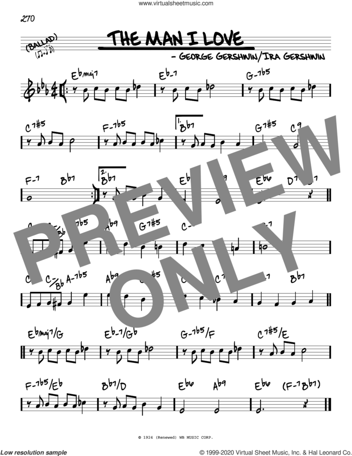 The Man I Love sheet music for voice and other instruments (real book) by George Gershwin and Ira Gershwin, intermediate skill level