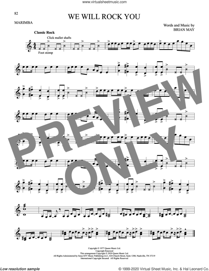 We Will Rock You sheet music for Marimba Solo by Queen and Brian May, intermediate skill level