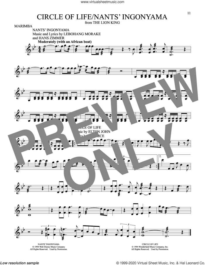 Circle Of Life (from The Lion King) sheet music for Marimba Solo by Elton John and Tim Rice, intermediate skill level