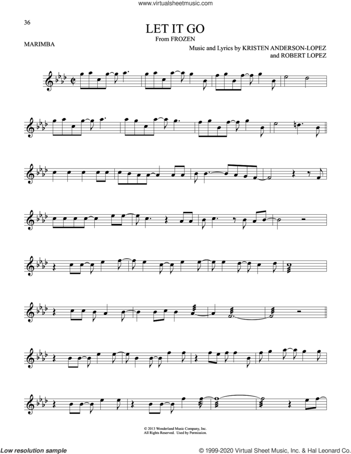 Let It Go (from Frozen) sheet music for Marimba Solo by Idina Menzel, Kristen Anderson-Lopez and Robert Lopez, intermediate skill level