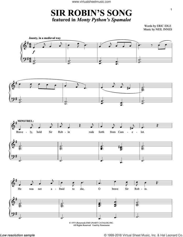 Robin's Song sheet music for voice and piano by Monty Python's Spamalot, Eric Idle and Neil Innes, intermediate skill level