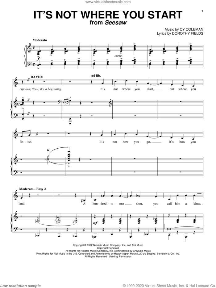 It's Not Where You Start sheet music for voice and piano by Cy Coleman and Dorothy Fields, intermediate skill level