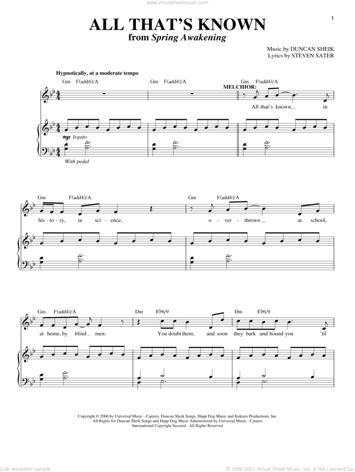 All That's Known sheet music for voice and piano by Duncan Sheik, Spring Awakening (Musical) and Steven Sater, intermediate skill level