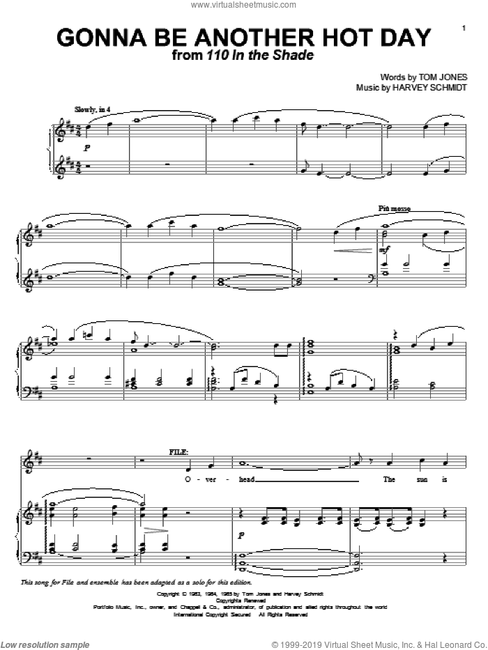 Gonna Be Another Hot Day sheet music for voice and piano by Tom Jones and Harvey Schmidt, intermediate skill level
