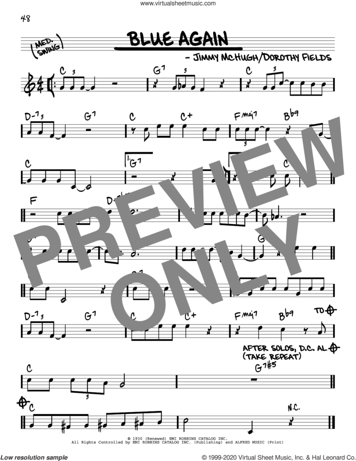 Blue Again sheet music for voice and other instruments (real book) by Dorothy Fields, Jimmy McHugh and Jimmy McHugh and Dorothy Fields, intermediate skill level