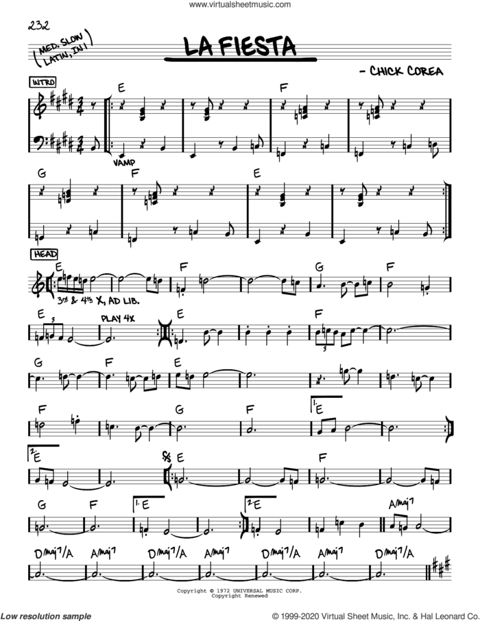 La Fiesta sheet music for voice and other instruments (real book) by Chick Corea, intermediate skill level