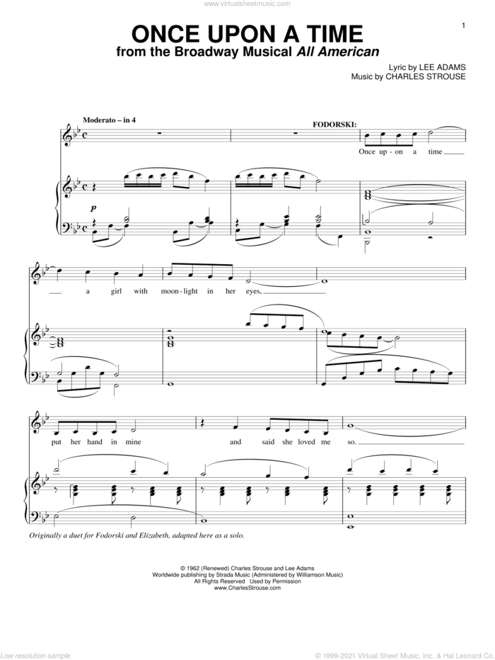Once Upon A Time sheet music for voice and piano by Charles Strouse and Lee Adams, intermediate skill level
