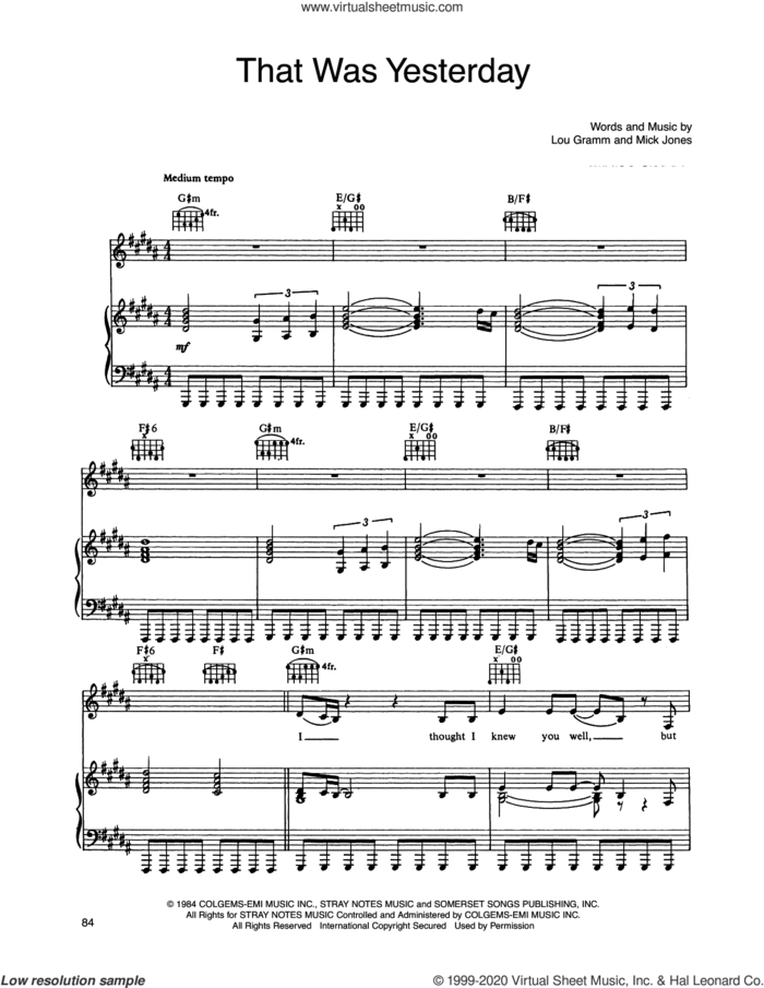 That Was Yesterday sheet music for voice, piano or guitar by Foreigner, Lou Gramm and Mick Jones, intermediate skill level