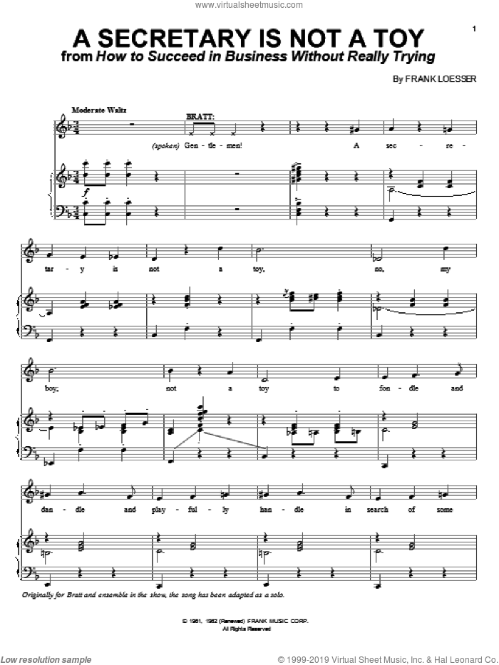 A Secretary Is Not A Toy sheet music for voice and piano by Frank Loesser, intermediate skill level