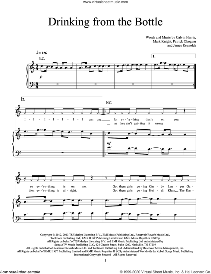 Drinking From The Bottle (feat. Tinie Tempah) sheet music for voice, piano or guitar by Calvin Harris, James Reynolds, Mark Knight and Patrick Okogwu, intermediate skill level