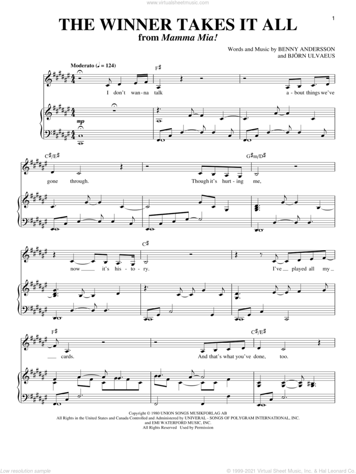 The Winner Takes It All sheet music for voice and piano by ABBA, Mamma Mia! (Musical), Benny Andersson and Bjorn Ulvaeus, intermediate skill level