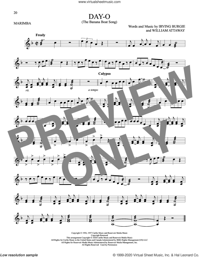 Day-O (The Banana Boat Song) sheet music for Marimba Solo by Harry Belafonte, Irving Burgie and William Attaway, intermediate skill level