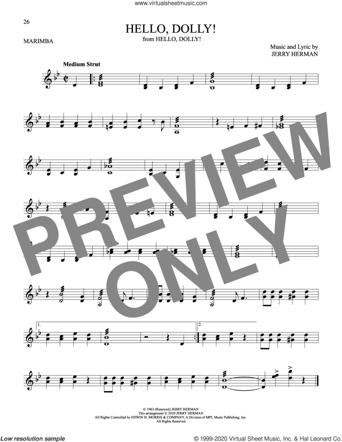Hello, Dolly! sheet music for Marimba Solo by Louis Armstrong and Jerry Herman, intermediate skill level