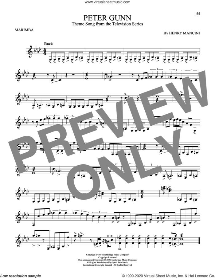 Peter Gunn sheet music for Marimba Solo by Henry Mancini, intermediate skill level