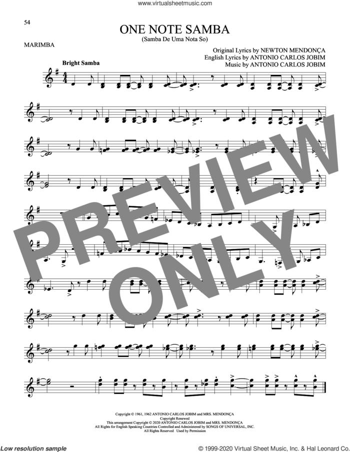 One Note Samba (Samba De Uma Nota So) sheet music for Marimba Solo by Antonio Carlos Jobim and Newton Mendonca, intermediate skill level