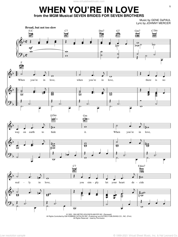 When You're In Love sheet music for voice, piano or guitar by Johnny Mercer and Gene DePaul, intermediate skill level