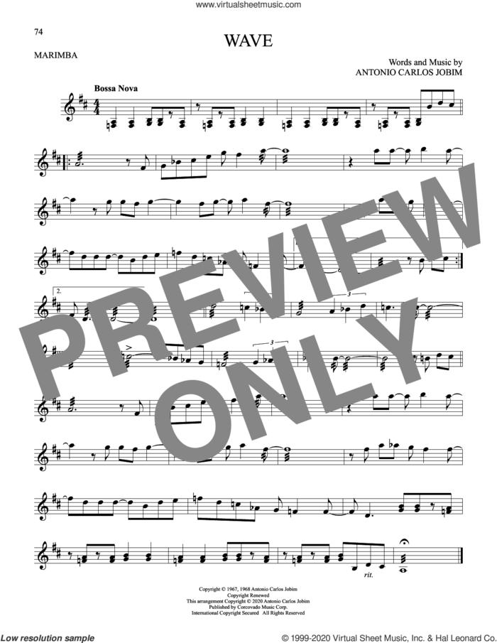 Wave sheet music for Marimba Solo by Antonio Carlos Jobim, intermediate skill level