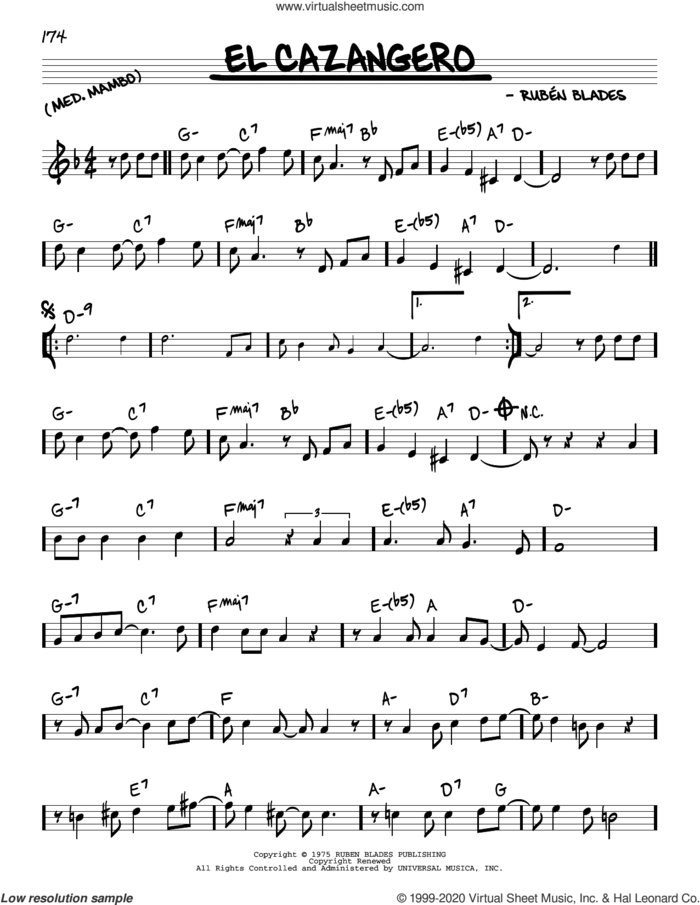 El Cazangero sheet music for voice and other instruments (real book) by Ruben Blades, intermediate skill level