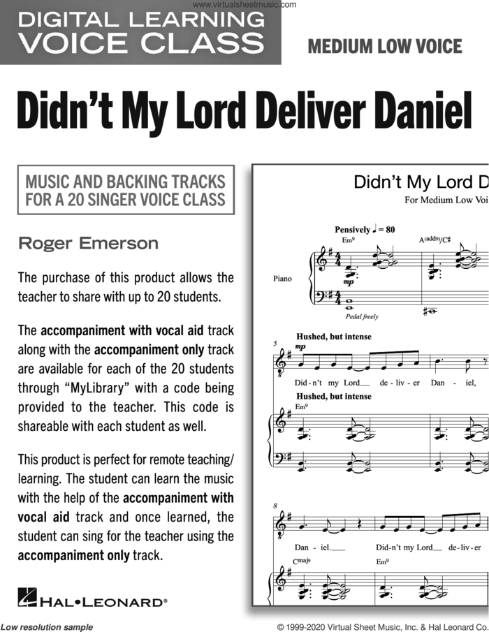 Didn't My Lord Deliver Daniel (Medium Low Voice) (includes Audio) sheet music for voice and piano (Medium Low Voice) by Roger Emerson and Miscellaneous, intermediate skill level