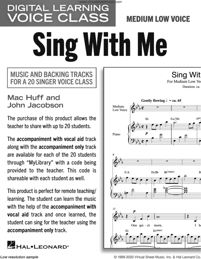 Sing With Me (Medium Low Voice) (includes Audio) sheet music for voice and piano (Medium Low Voice) by Mac Huff and John Jacobson, John Jacobson and Mac Huff, intermediate skill level