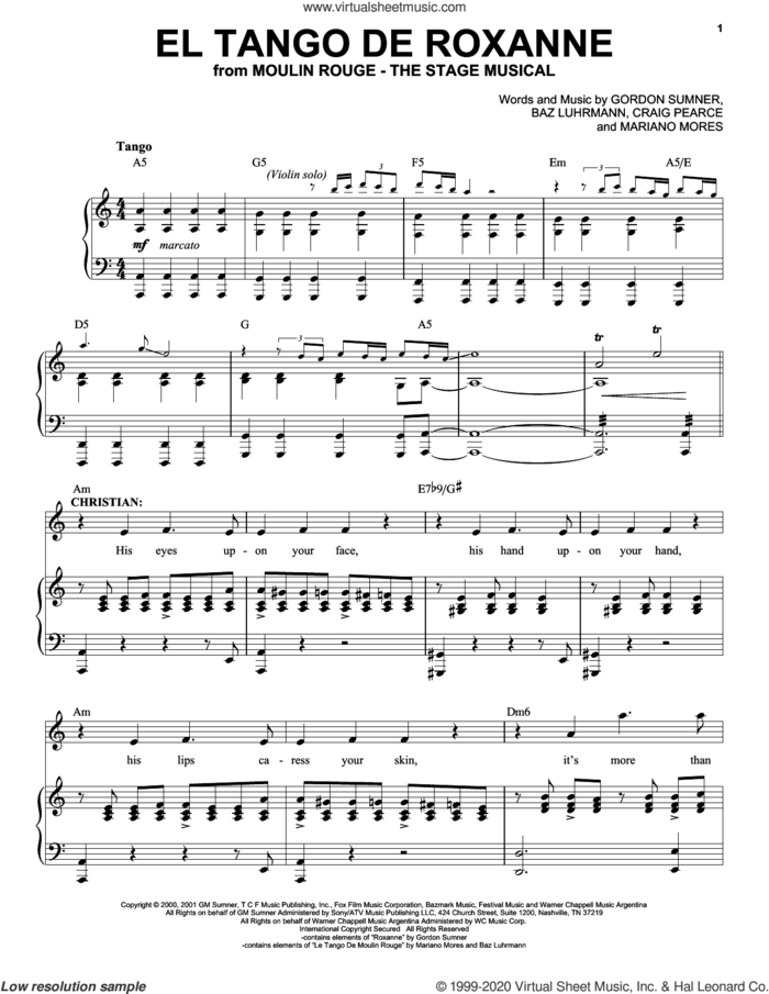 El Tango De Roxanne (from Moulin Rouge! The Musical) sheet music for voice and piano by Moulin Rouge! The Musical Cast, Baz Luhrmann, Craig Pearce, Gordon Sumner and Mariano Mores, intermediate skill level