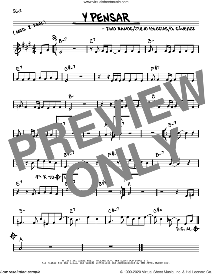 Y Pensar sheet music for voice and other instruments (real book) by Julio Iglesias, Dino Ramos and O. Sanchez, intermediate skill level