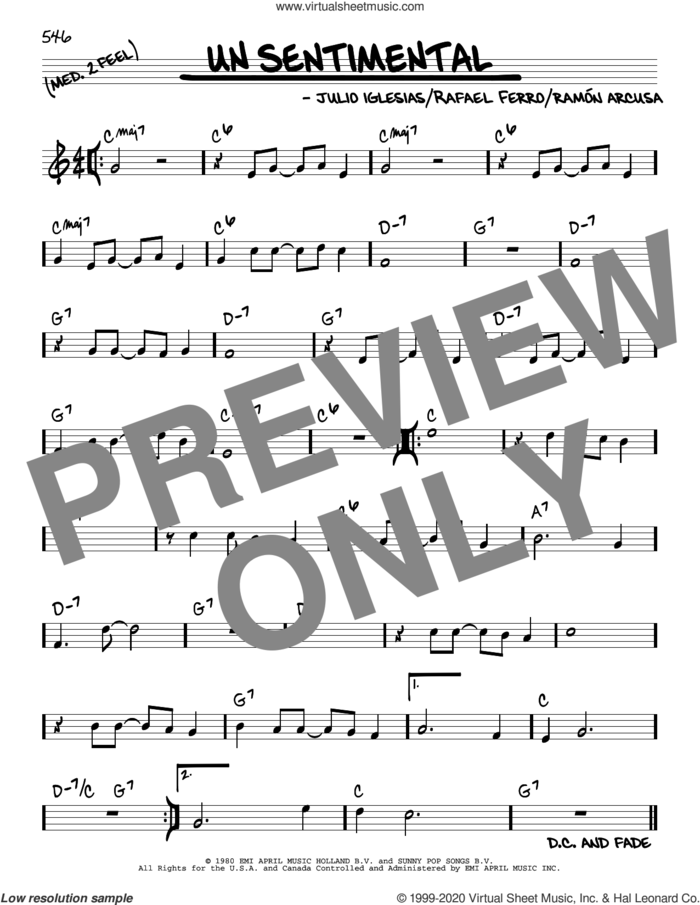 Un Sentimental sheet music for voice and other instruments (real book) by Julio Iglesias, Rafael Ferro and Ramon Arcusa, intermediate skill level