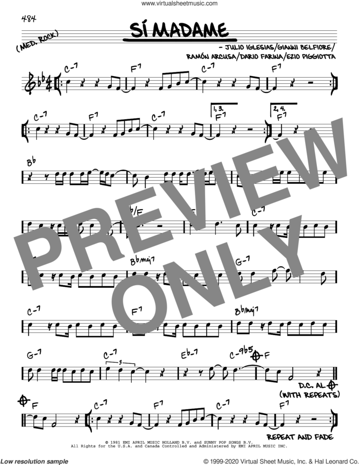 Si Madame sheet music for voice and other instruments (real book) by Julio Iglesias, Gianni Belfiore and Ramon Arcusa, intermediate skill level