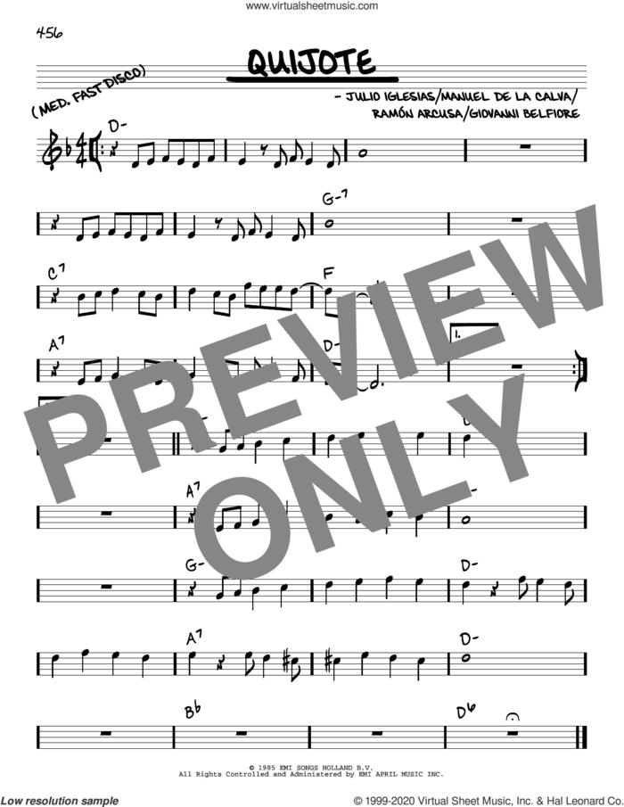 Quijote sheet music for voice and other instruments (real book) by Julio Iglesias, Giovanni Belfiore, Manuel De La Calva and Ramon Arcusa, intermediate skill level