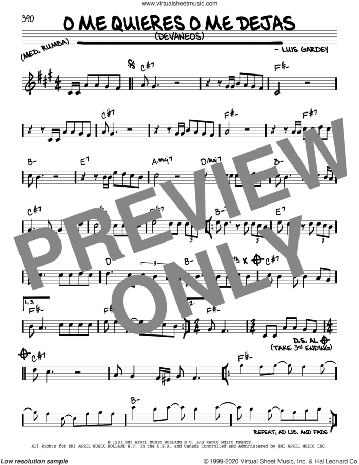 O Me Quieres O Me Dejas (Devaneos) sheet music for voice and other instruments (real book) by Julio Iglesias and Luis Gardey, intermediate skill level
