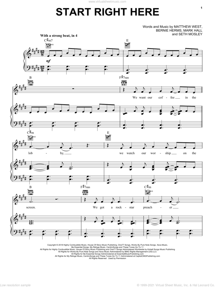 Start Right Here sheet music for voice, piano or guitar by Casting Crowns, Bernie Herms, Mark Hall, Matthew West and Seth Mosley, intermediate skill level
