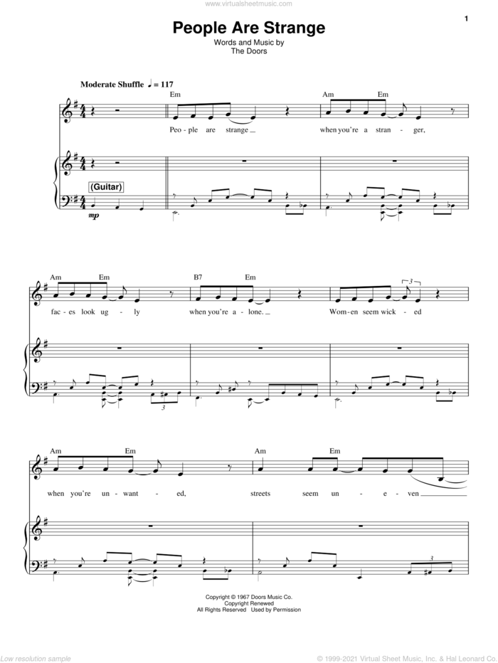 People Are Strange sheet music for voice and piano by The Doors, intermediate skill level