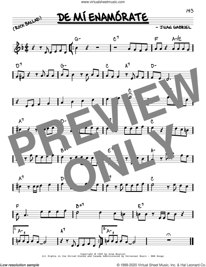 De Mi Enamorate sheet music for voice and other instruments (real book) by Juan Gabriel, intermediate skill level