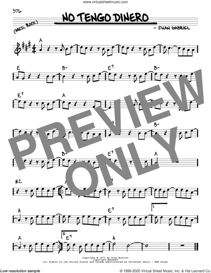 No Tengo Dinero sheet music for voice and other instruments (real book) by Juan Gabriel, intermediate skill level