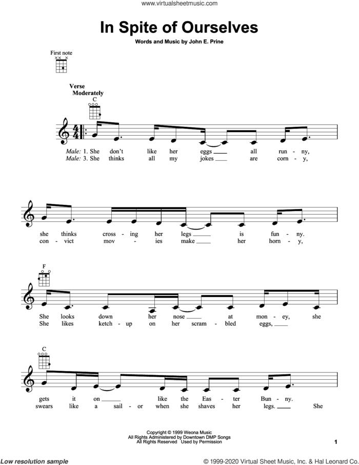 In Spite Of Ourselves sheet music for ukulele by John Prine and John E. Prine, intermediate skill level