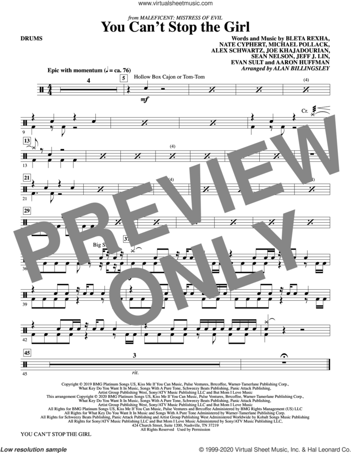 You Can't Stop The Girl (from Maleficent: Mistress of Evil) (arr. Alan Billingsley) sheet music for orchestra/band (drums) by Bebe Rexha, Alan Billingsley, Aaron Huffman, Alex Schwartz, Bleta Rexha, Evan Sult, Jeff J. Lin, Joe Khajadourian, Michael Pollack, Nate Cyphert and Sean Nelson, intermediate skill level