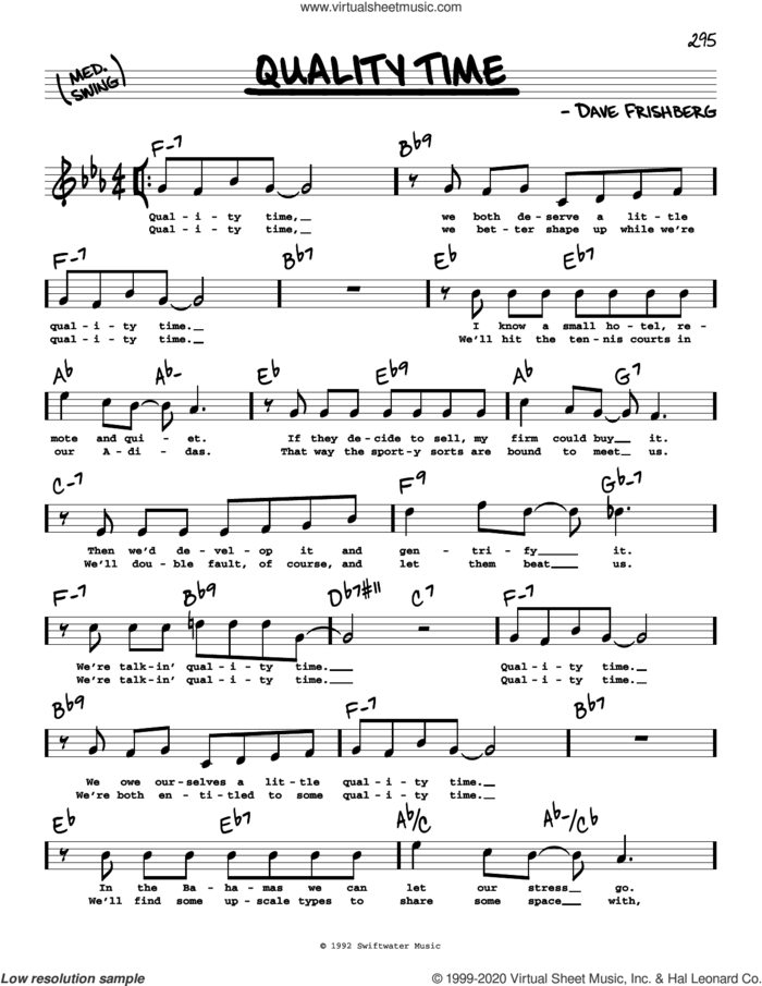 Quality Time (High Voice) sheet music for voice and other instruments (high voice) by Dave Frishberg, intermediate skill level