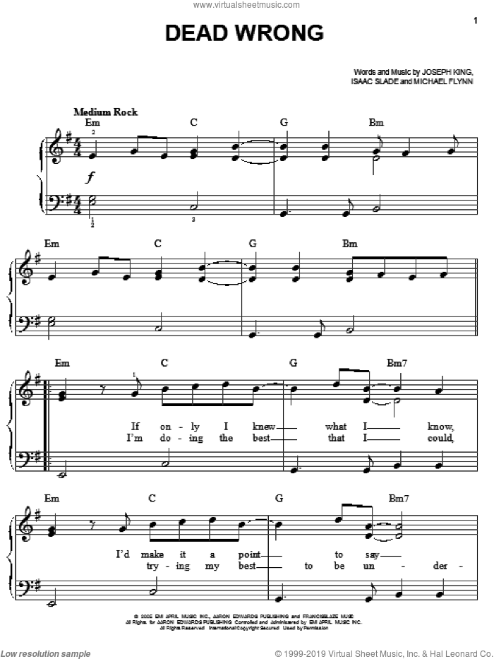 Dead Wrong sheet music for piano solo by The Fray, Isaac Slade, Joseph King and Michael Flynn, easy skill level