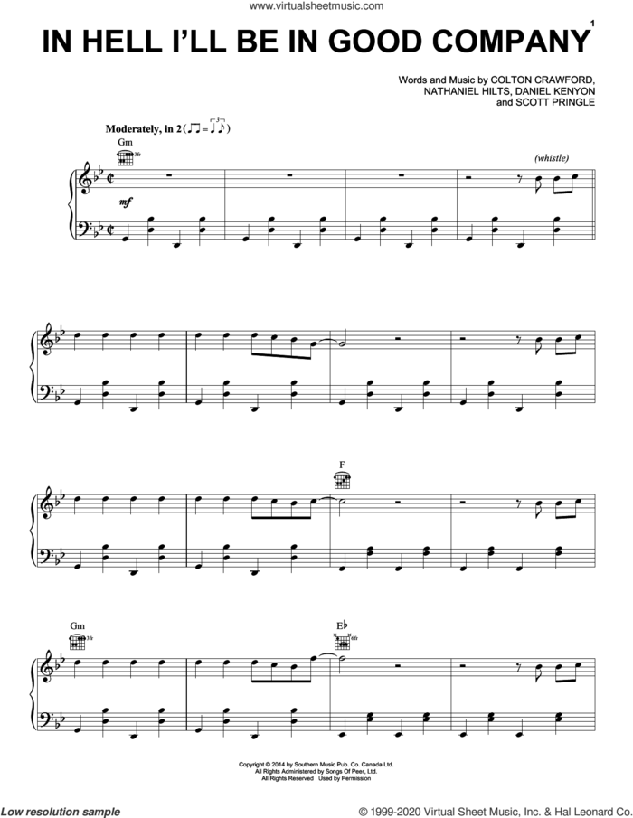 In Hell I'll Be In Good Company sheet music for voice, piano or guitar by The Dead South, Colton Crawford, Daniel Kenyon, Nathaniel Hilts and Scott Pringle, intermediate skill level