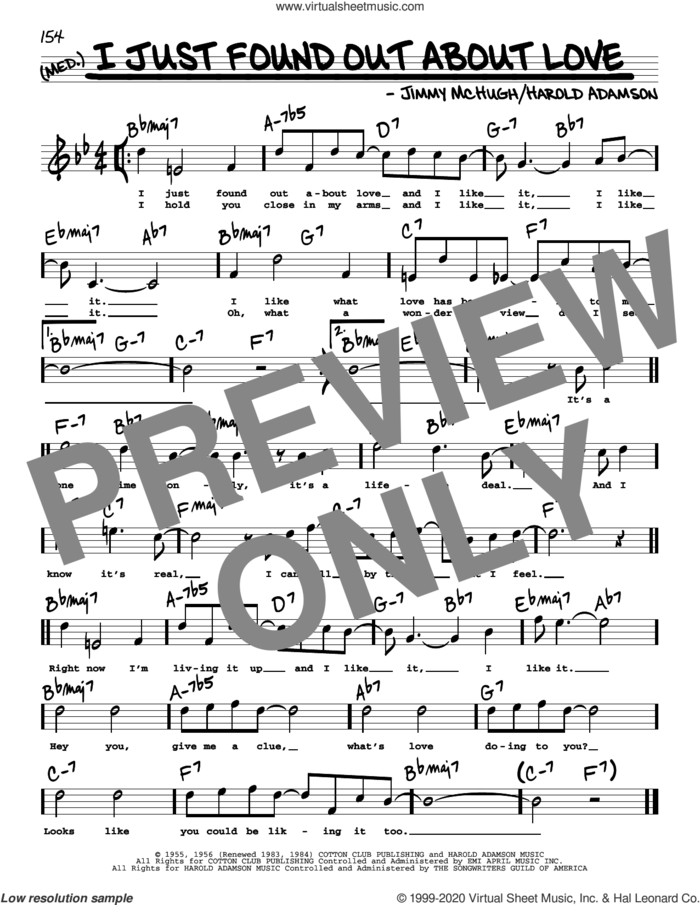 I Just Found Out About Love (High Voice) sheet music for voice and other instruments (high voice) by Jimmy McHugh and Harold Adamson, intermediate skill level