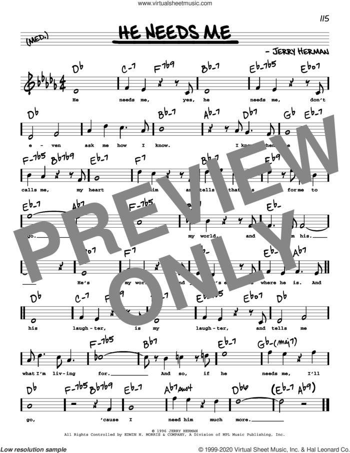 He Needs Me (High Voice) sheet music for voice and other instruments (high voice) by Jerry Herman, intermediate skill level