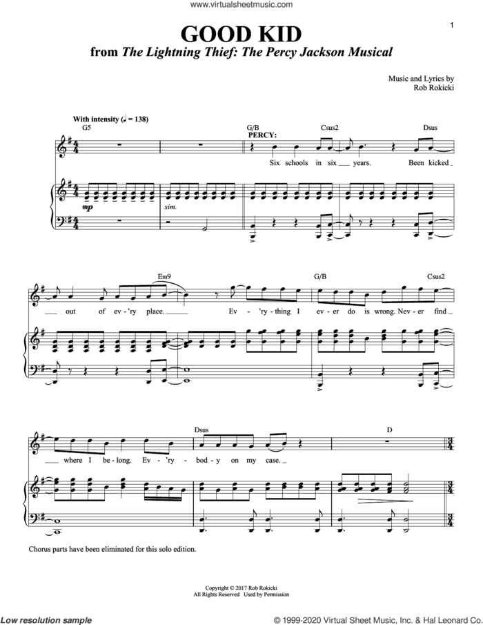 Good Kid [Solo version] (from The Lightning Thief: The Percy Jackson Musical) sheet music for voice and piano by Rob Rokicki, intermediate skill level