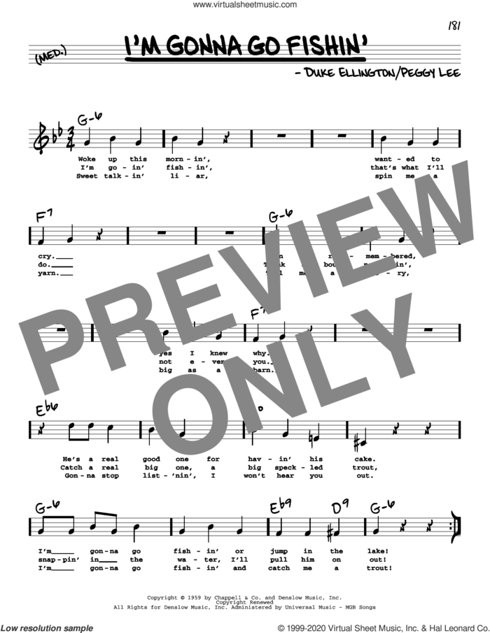 I'm Gonna Go Fishin' (High Voice) sheet music for voice and other instruments (high voice) by Peggy Lee and Duke Ellington, intermediate skill level