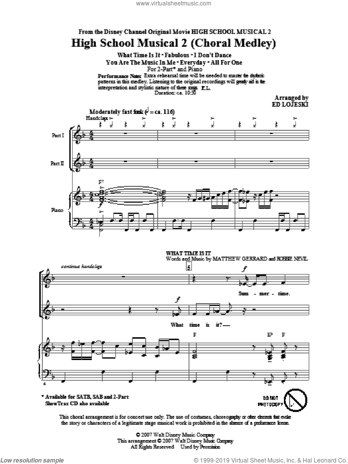 High School Musical 2 (Choral Medley) sheet music for choir (2-Part) by Matthew Gerrard, Robbie Nevil, Ed Lojeski and High School Musical 2, intermediate duet