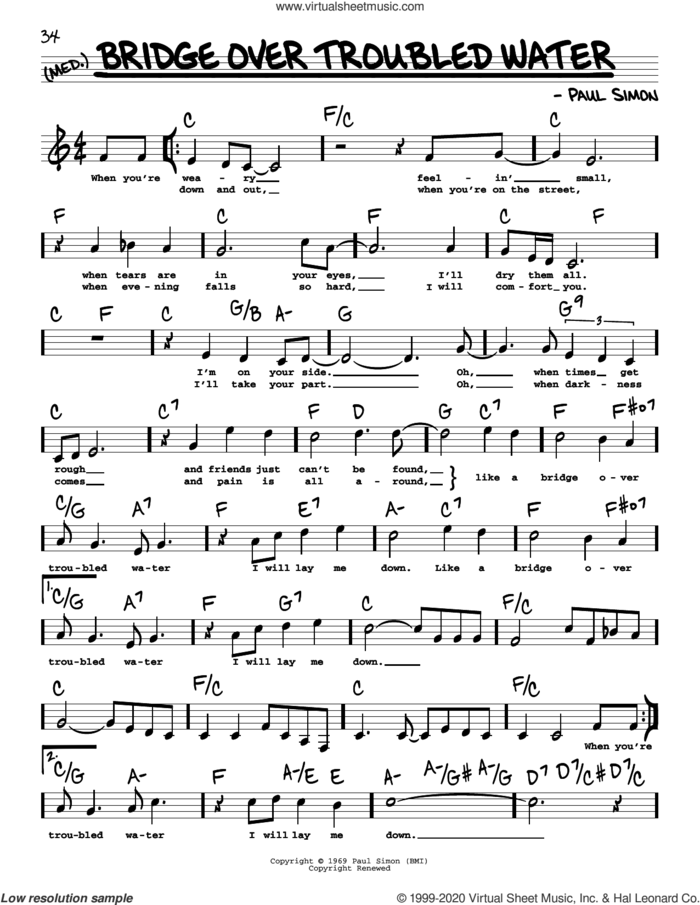 Bridge Over Troubled Water (High Voice) sheet music for voice and other instruments (high voice) by Simon & Garfunkel and Paul Simon, intermediate skill level