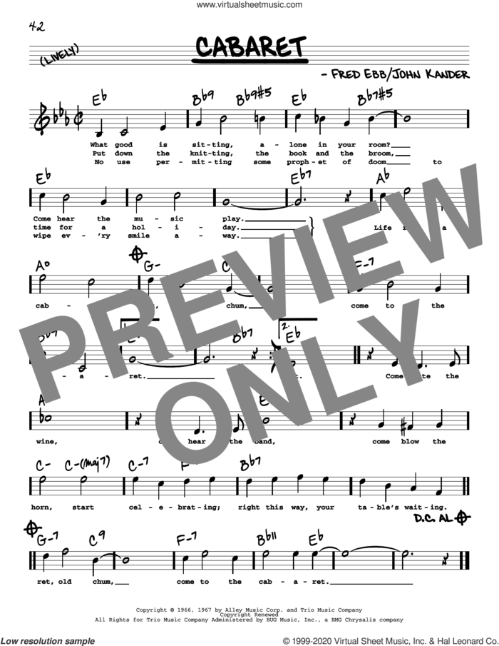 Cabaret (High Voice) sheet music for voice and other instruments (high voice) by John Kander, Herb Alpert & The Tijuana Brass, Fred Ebb and Kander & Ebb, intermediate skill level